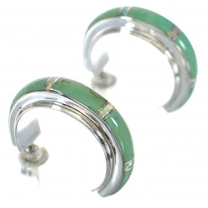 Turquoise Opal Inlay Genuine Sterling Silver Post Hoop Earrings RX66214