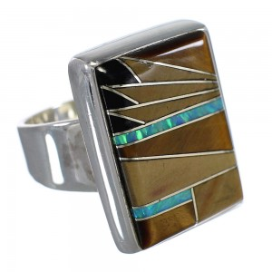 Multicolor Genuine Sterling Silver Ring Size 8-1/2 RX82187