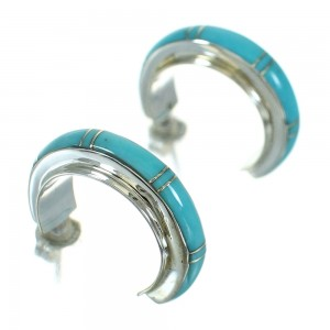 Turquoise Inlay Silver Southwest Post Hoop Earrings AX66382
