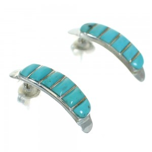 Turquoise Inlay Silver Jewelry Southwest Post Hoop Earrings AX66386