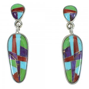 Multicolor Inlay Sterling Silver Southwest Post Dangle Earrings AX71403