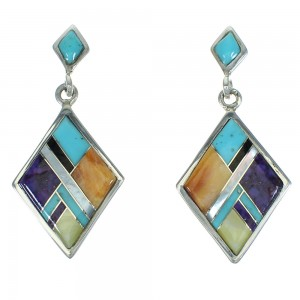 Southwestern Multicolor Inlay Sterling Silver Post Dangle Earrings AX71421