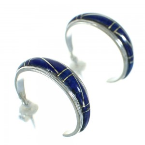Southwest Authentic Sterling Silver Lapis Inlay Post Hoop Earrings QX69556