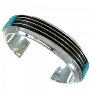 Turquoise Silver Southwestern Cuff Bracelet AX78148