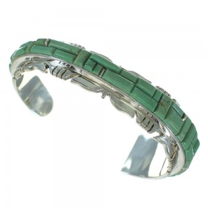 Turquoise Inlay Sterling Silver Southwestern Cuff Bracelet AX78275