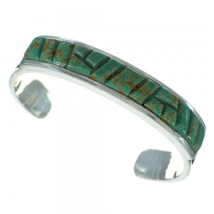 Southwestern Turquoise Sterling Silver Water Wave Cuff Bracelet AX78280