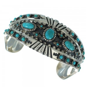 Sterling Silver Turquoise Southwest Jewelry Cuff Bracelet AX78330