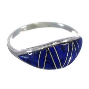 Southwestern Authentic Sterling Silver Lapis Inlay Ring Size 6-1/4 QX68421