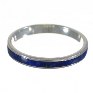 Southwestern Genuine Sterling Silver Lapis Stackable Ring Size 5-1/4 QX68443