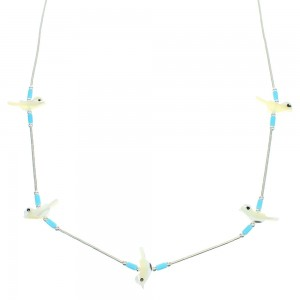 Turquoise And Mother Of Pearl Fetish Bird Liquid Silver Bead Necklace WX65845