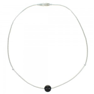 Liquid Sterling Silver Onyx Bead Anklet WX65869