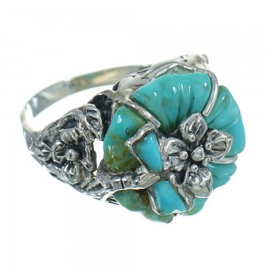 Southwestern Sterling Silver And Turquoise Flower Dragonfly Ring Size 5-1/4 YX68936