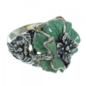 Turquoise Inlay And Silver Southwest Flower Dragonfly Ring Size 5-1/2 YX68970