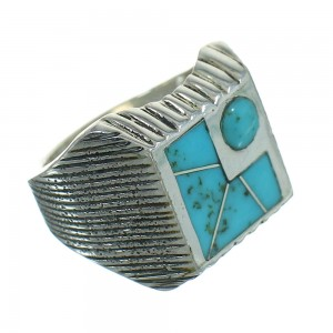 Southwest Turquoise Inlay And Silver Jewelry Ring Size 8-1/4 YX69799