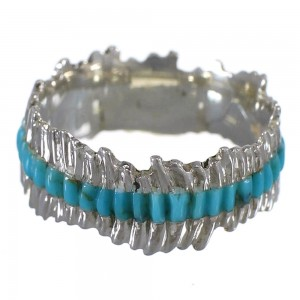 Southwest Sterling Silver Turquoise Inlay Ring Size 5-1/4 QX68991
