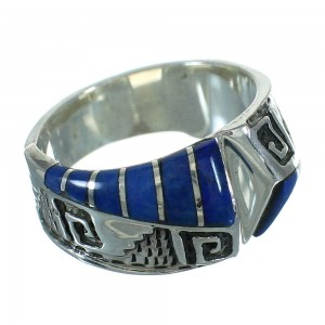 Authentic Sterling Silver Southwest Lapis Water Wave Ring Size 6-1/2 QX81616