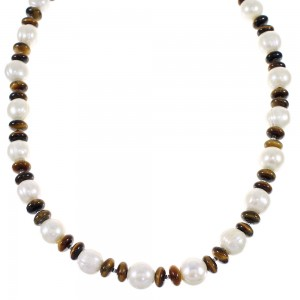 Tiger Eye And Fresh Water Pearl Navajo Indian Silver Bead Necklace WX69352