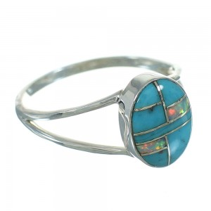 Opal Turquoise Inlay And Silver Southwestern Ring Size 8-3/4 YX71257