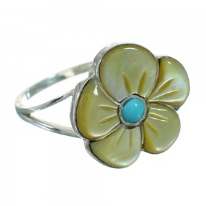Turquoise And Yellow Mother Of Pearl Flower Genuine Sterling Silver Southwest Ring Size 8-1/2 YX67153