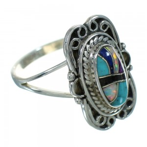 Sterling Silver Multicolor Inlay Ring Size 4-1/4 AX80269