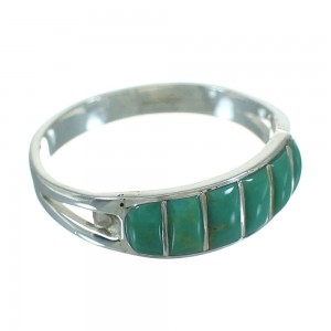 Turquoise Inlay Authentic Sterling Silver Southwestern Ring Size 8-3/4 QX69103