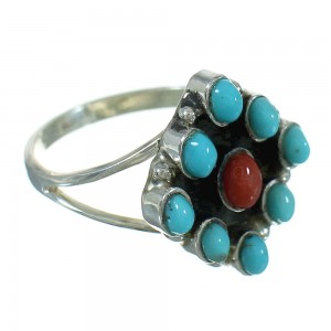 Turquoise Coral Sterling Silver Southwestern Ring Size 6-3/4 QX73681
