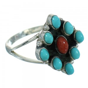 Sterling Silver Southwestern Turquoise Coral Ring Size 5-1/2 QX73691