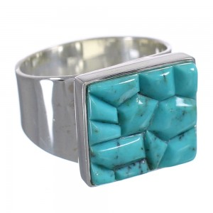 Turquoise And Sterling Silver Southwestern Ring Size 10-1/2 YX68696