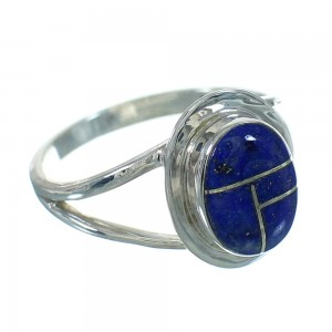 Genuine Sterling Silver Southwestern Lapis Inlay Ring Size 4-3/4 YX66952
