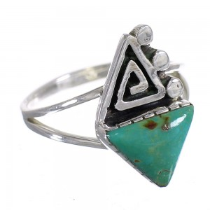 Silver Southwest Turquoise Water Wave Ring Size 6-1/2 QX80785