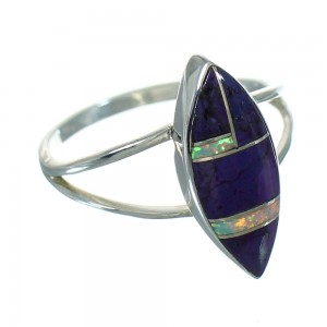 Southwest Genuine Sterling Silver Magenta Turquoise And Opal Inlay Ring Size 6-3/4 QX66820