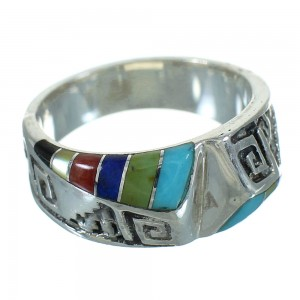 Multicolor Inlay Water Wave Southwestern Silver Ring Size 7-3/4 QX74664