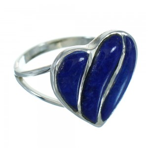 Lapis Heart Genuine Sterling Silver Southwest Ring Size 6-1/2 RX82206