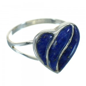 Sterling Silver Lapis Heart Southwest Ring Size 5-1/4 RX82210