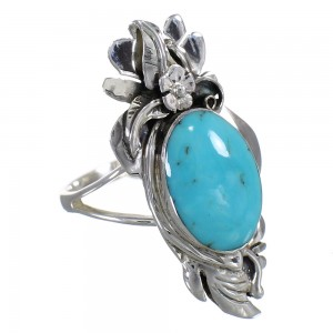 Silver Turquoise Southwest Flower Ring Size 6-3/4 YX79878