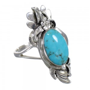 Sterling Silver And Turquoise Southwest Flower Ring Size 5-1/2 YX79888