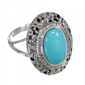 Southwest Silver Turquoise Ring Size 6-1/2 YX79918