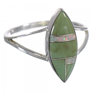 Genuine Sterling Silver Turquoise Opal Inlay Ring Size 5-1/4 RX83110