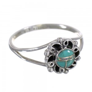Southwest Turquoise Opal Sterling Silver Ring Size 7-1/2 RX83285