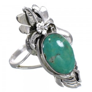 Silver Turquoise Southwestern Flower Ring Size 8-1/4 YX73700