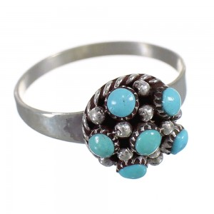 Turquoise Sterling Silver American Indian Zuni Ring Size 5-1/4 AX66062