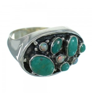 Authentic Sterling Silver Opal And Turquoise Southwest Jewelry Ring Size 6-1/2 YX68923