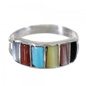 Zuni Multicolor Inlay Sterling Silver Ring Size 5-1/2 RX66673