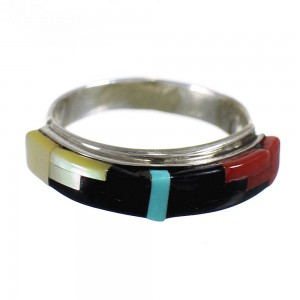 Zuni Authentic Sterling Silver Multicolor Inlay Jewelry Ring Size 5-1/2 RX66709