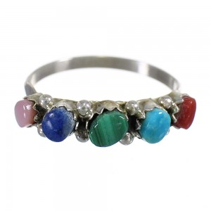 Native American Multicolor Sterling Silver Jewelry Ring Size 8 RX66760