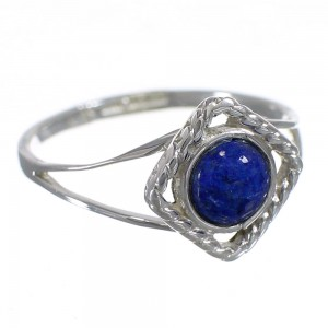 Sterling Silver Lapis Southwestern Ring Size 5 AX80165