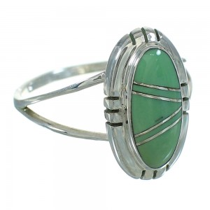 Turquoise Inlay And Genuine Sterling Silver Southwestern Ring Size 6-1/2 YX69638
