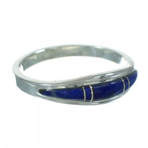 Southwest Lapis Inlay Silver Ring Size 5-3/4 AX74028