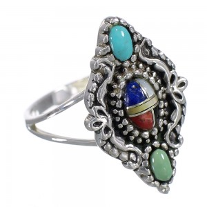 Southwestern Multicolor And Sterling Silver Ring Size 5 WX70916