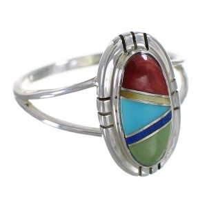 Multicolor Genuine Sterling Silver Southwest Ring Size 5-1/4 WX75068